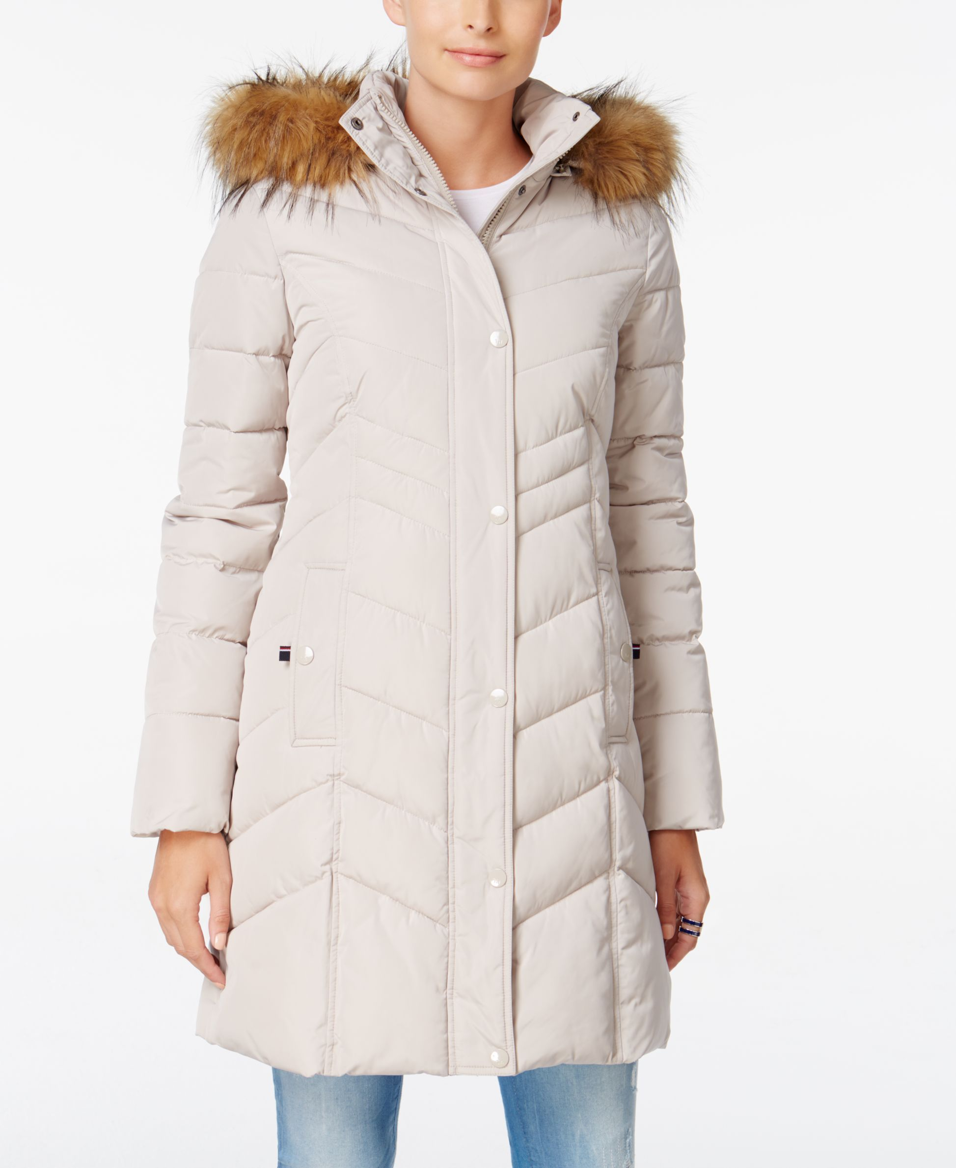 ab50584e5 Tommy Hilfiger Faux-Fur-Trim Hooded Quilted Puffer Coat | Products ...