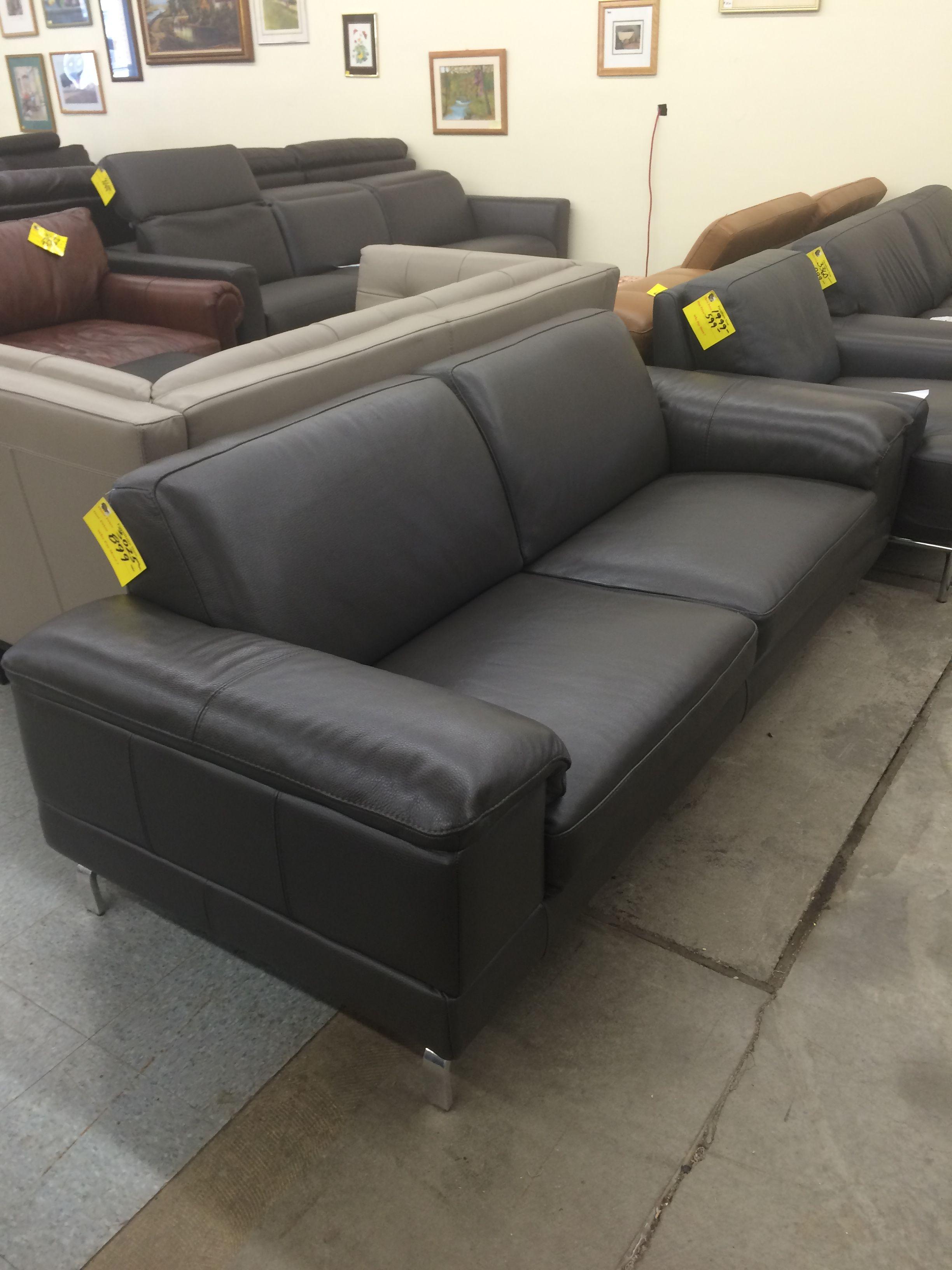 Nicoletti Lipari Grey Italian Leather Sofa Chaise For Small Rooms  Home Decor 88