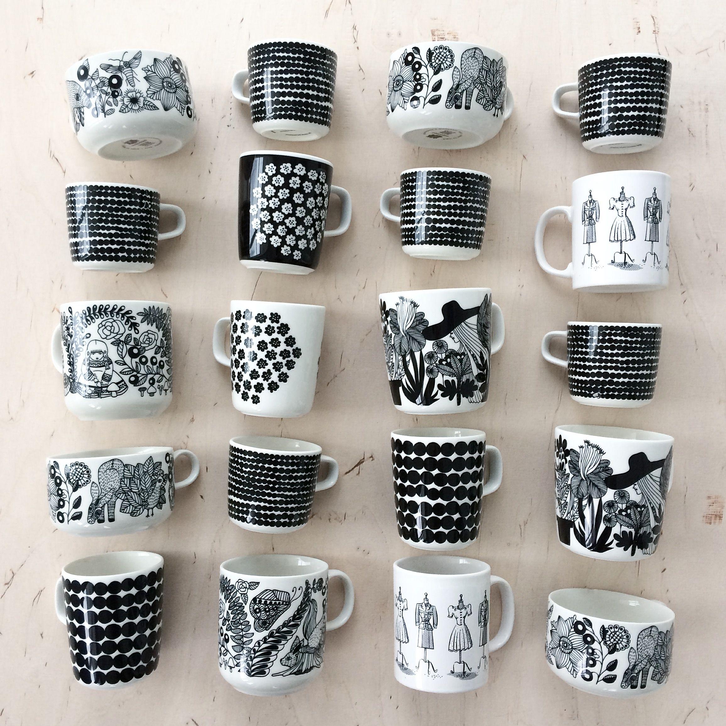 Obsessed Black And White Coffee Cups Marimekko Arabia Finland Interiors Nordic Living By Johanna Sandberg Scandi Design Marimekko Scandinavian Design