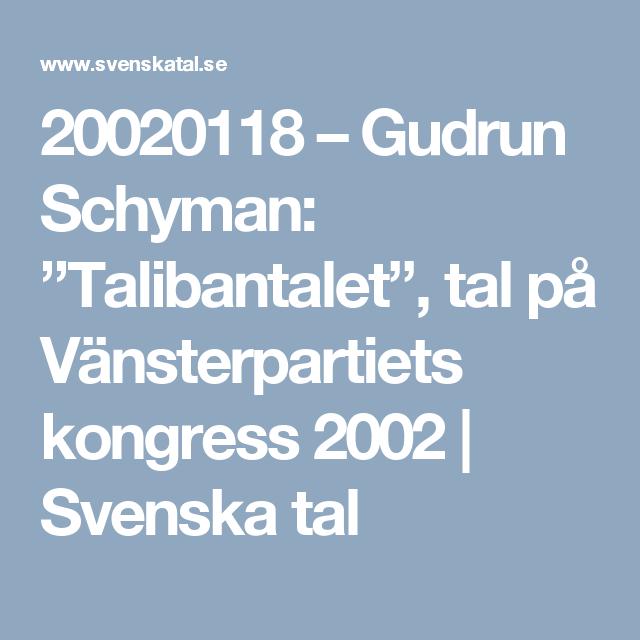 """20020118 – Gudrun Schyman: """"Talibantalet"""", tal på Vänsterpartiets kongress 2002   Svenska tal"""