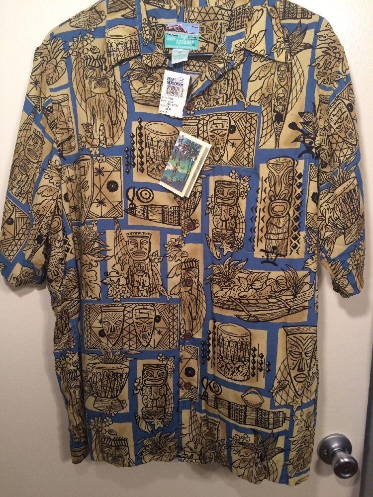 a75585cf Men's Vintage Reyn Spooner Hawaiian Shirt Size M- Tiki Shirt Blue ...