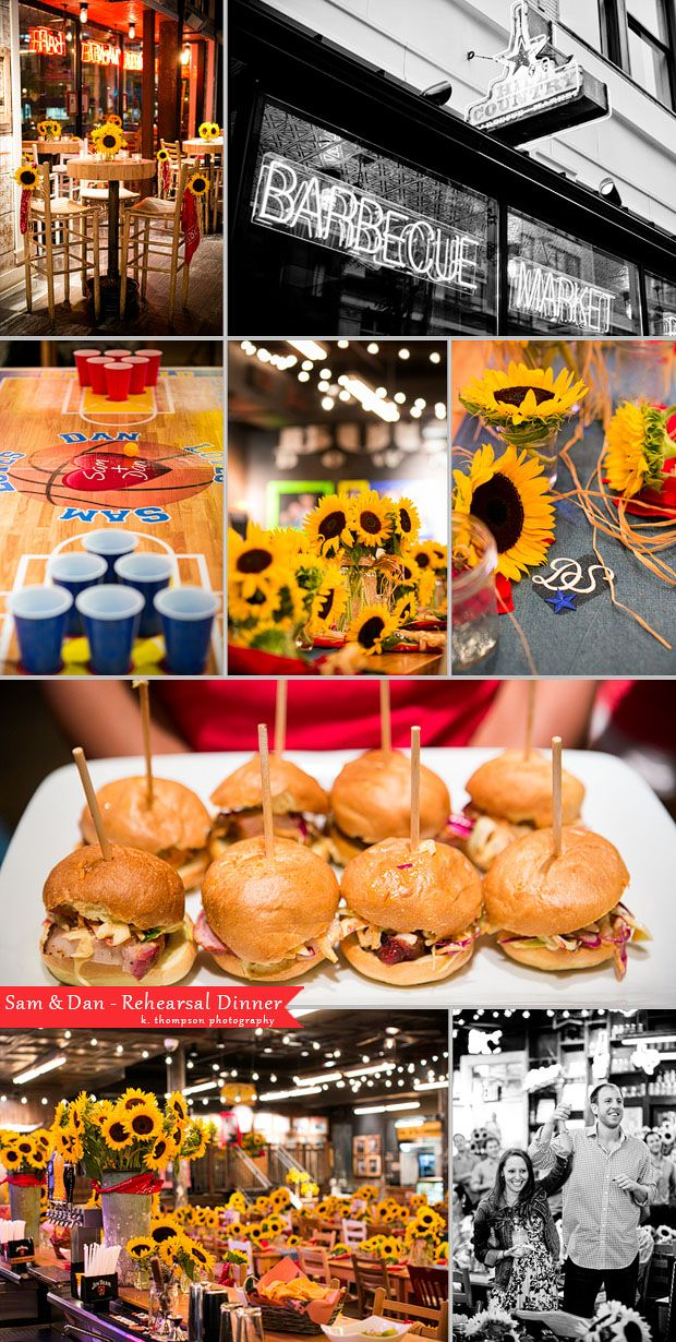 rehearsal dinner bbq theme...love the idea of having something more casual, and I definitely love all of the sunflowers!