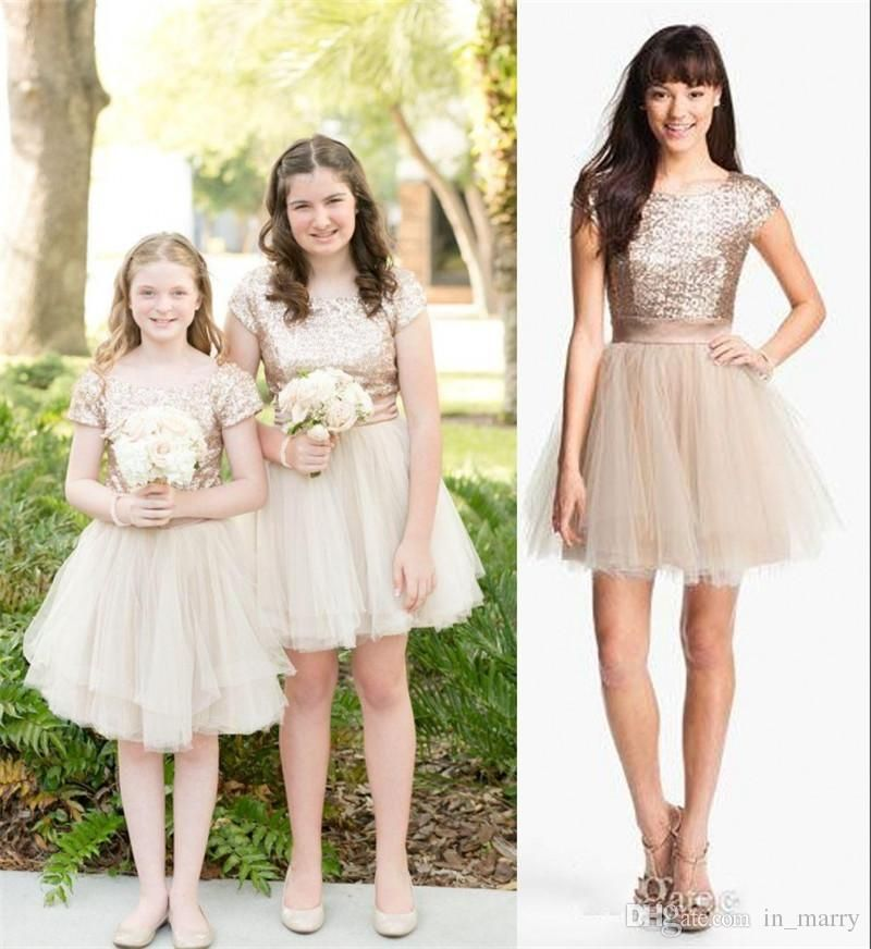Rose gold sequins 2016 junior bridesmaid dresses a line for Junior wedding guest dresses for summer