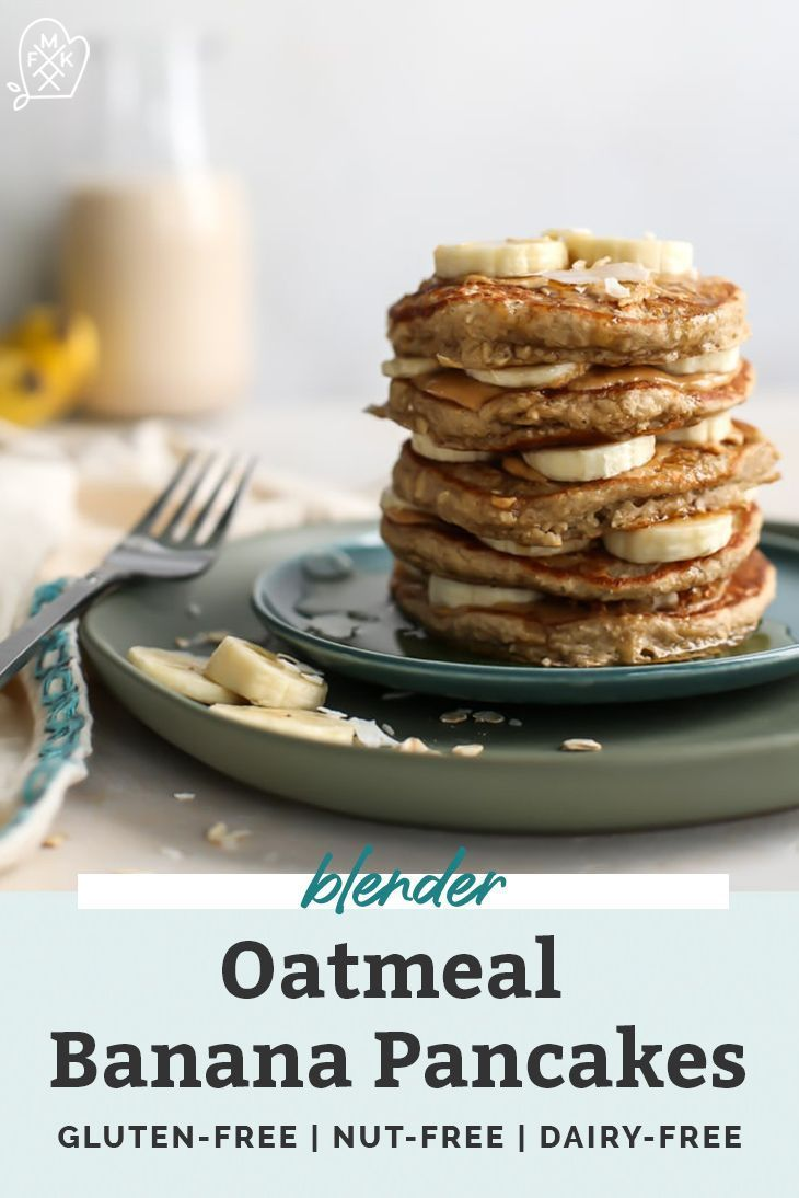 Healthy Oatmeal Banana Pancakes #flaxseedmealrecipes The perfect easy blender pancake recipe! These Oatmeal Banana Pancakes are made with oats, bananas, unsweetened non-dairy milk and no added sugar. Gluten-free friendly and you can even sub flaxseed meal in place of the egg for vegan friends. This easy healthy recipe is flourless because the oats and banana create the perfect consistency. Pancakes freeze well for meal prep too! #pancakes #bananas #glutenfree #oatmealpancakes #dairyfree #flaxseedmealrecipes