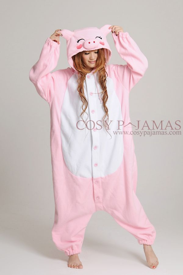 fleece pink pig costume. fleece pink pig costume Cute Onesies d285e500b