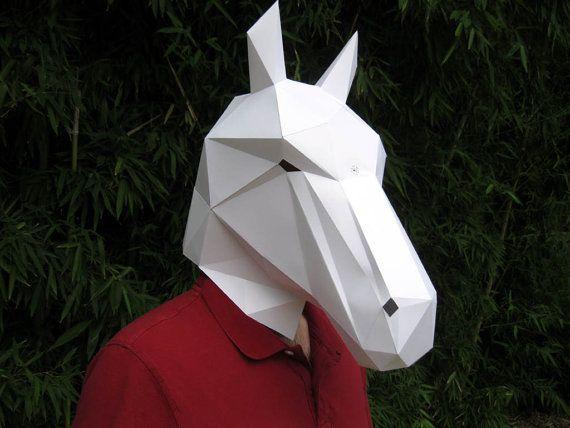 unicorn mask or horse mask pdf pattern diy mask low poly
