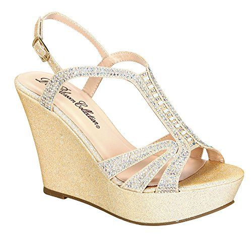 9cb54c0007e6ef Aria1 Womens Formal Shimmer Material Rhinestone Embellished Wedge Nude 85     Continue to the product at the image link.(This is an Amazon affiliate  link and ...