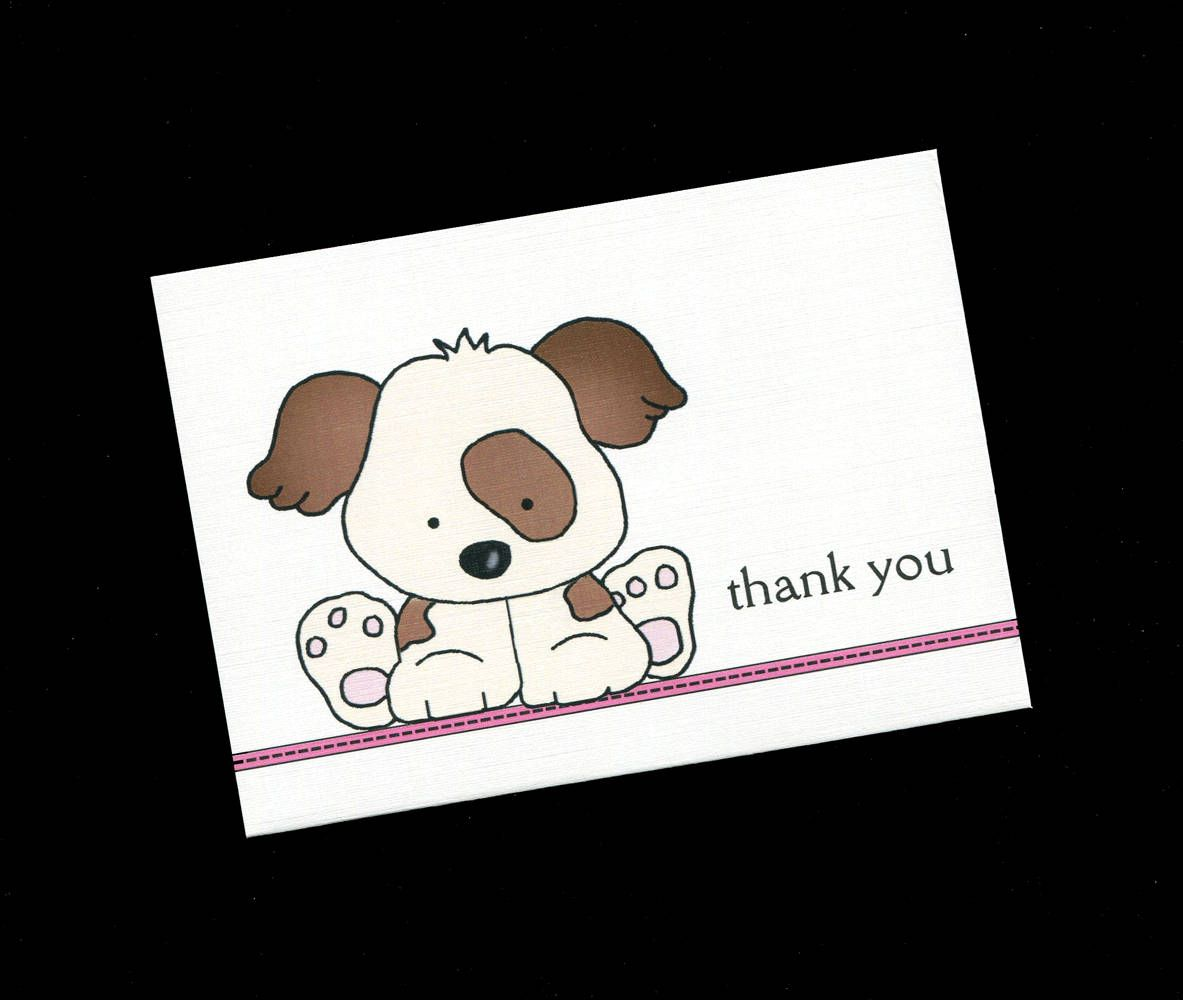 Baby shower thank you cards baby girl puppy baby