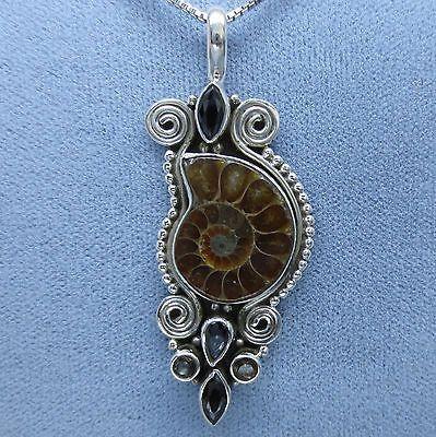 Ammonite, Black Onyx and Smoky Topaz Necklace - Sterling Silver