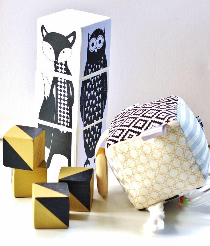 handmade woodland animal black white trendy modern puzzle match blocks