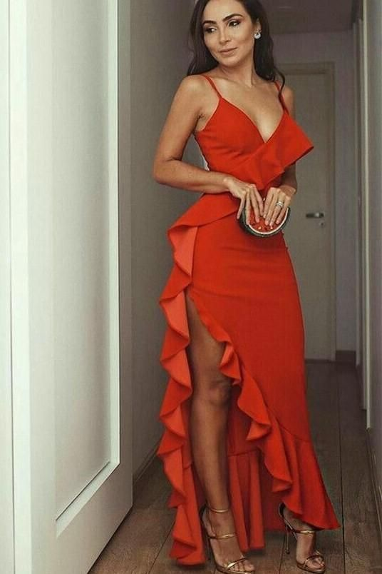 Spaghetti Straps Flounce Prom Dress with Plunging Neckline - Party dress classy, Elegant dresses, Red prom dress, Evening dresses, Evening party dress, Fancy dresses - inch 3  Shipping time  rush order within 15 days to arrive you (but we need charge you more extra $30 for rush    usually need more than 25 days to arrive you   Tailoring Time 1522 Days  Shipping Time 510 Days  Total Time 20 32 Days  if you are urgent to get the dress please note me in advance   4, Shipping by UPS or DHL or some special airline  5, Payment Paypal, bank transfer, western union, money gram and so on  6, Return Policy We will accept returns if dresses have quality problems, wrong delivery time, we also hold the right to refuse any unreasonable returns, such as wrong size you gave us or standard size which we made right, but we offer free modify  Please see following for the list of quality issues that are fully refundable for Wrong Size, Wrong Color, Wrong style, Damaged dress 100% Refund or remake one or return 50% payment to you, you keep the dress  In order for your return or exchange to be accepted, please carefully follow our guide 1  Contact us within 2 days of receiving the dress (please let us know if you have some exceptional case in advance) 2  Provide us with photos of the dress, to show evidence of damage or bad quality, this also applies for the size, or incorrect style and color etc  Lace Evening Dress 3  The returned item must be in perfect condition (as new), you can try the dress on, but be sure not to stretch it or make any dirty marks, otherwise it will not be accepted  4  The tracking number of the returned item must be provided together with the reference code issued  5  If you prefer to exchange dresses, then a price difference will be charged if more expensive  6  You are required to pay for the shipping fee to return or exchange the dress  7  When you return the package to us, please pay attention to the following points, if not, customers should pay for the duty we put all of our energy and mind into each dress, each of our dress are full of love, our long experience and skilled craftsmanship keep less return rate till now, but if there are our problems, we could return all your payment, for more details, please see our FAQ  9, Custom taxes Except Unite States, most buyers need to pay customs taxes, in order to save cost for you, we have marked around $3040 00 on the invoice, then you just pay less taxes, please note that it's express help customs collect this payment, it is not shipping cost, as shipping cost has already paid before sending