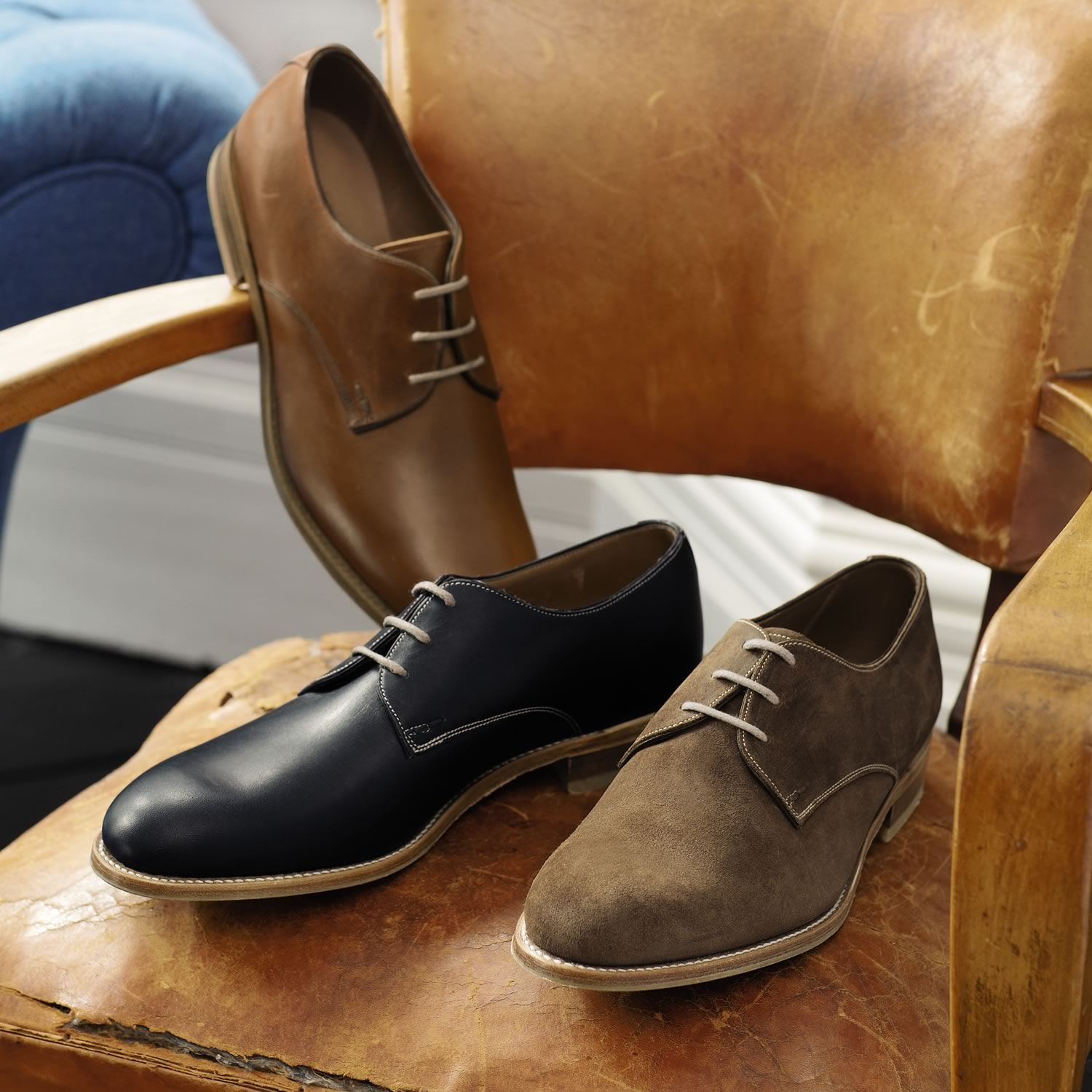 Navy casual Derby shoes | Men's