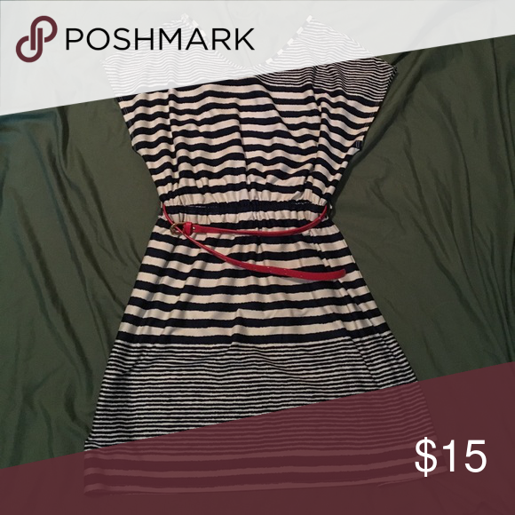 Navy and white cinched waist dress Super lightweight navy and white striped dress! Comes with a red belt but the belt can be easily removed! Dresses