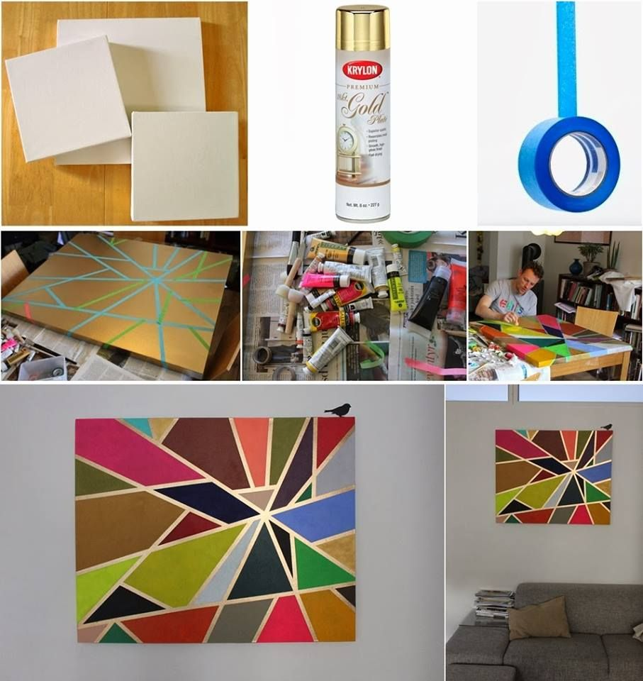 How to Make Tape Painting on Canvas | Ideas for Project of the day ...