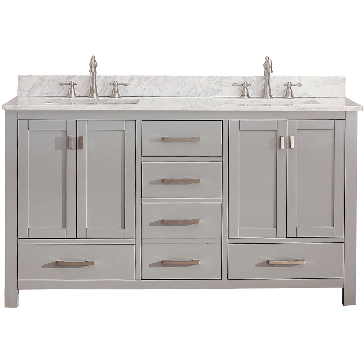High Quality Avanity Modero 60 Inch Chilled Grey Double Vanity Combo (Avanity Modero 60  In Dble