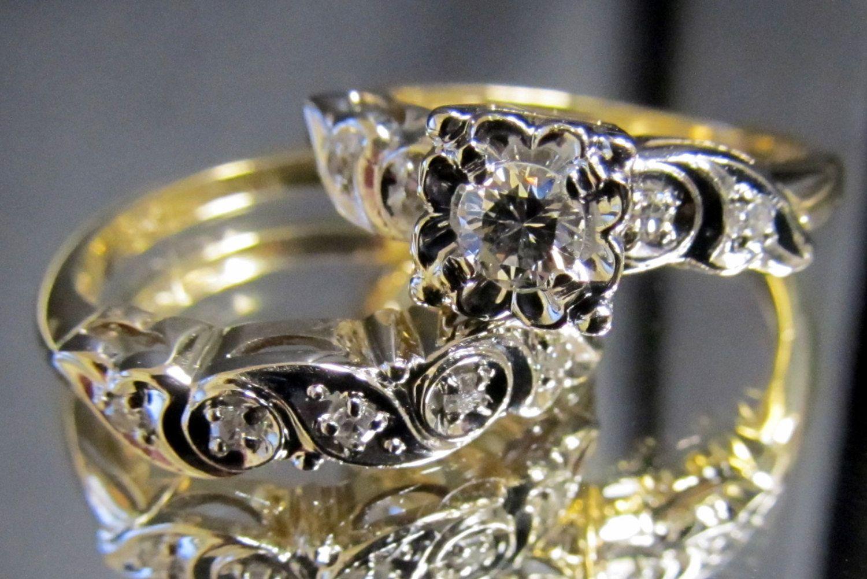 1950s Vintage Diamond Engagement Ring & Wedding Band