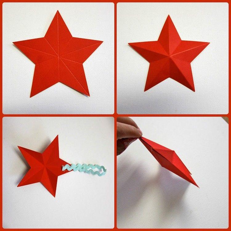 3d Stern Aus Rotem Tonpapier Falten Sterne Basteln Vorlage Weihnachtsstern Basteln Sterne Basteln