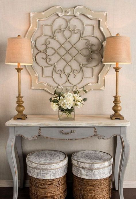 Antique Cream Wood & Metal Wall Decor ELEGANT White Metal MedallionLike HUGE is part of Metal Home Accessories Wall Decor -