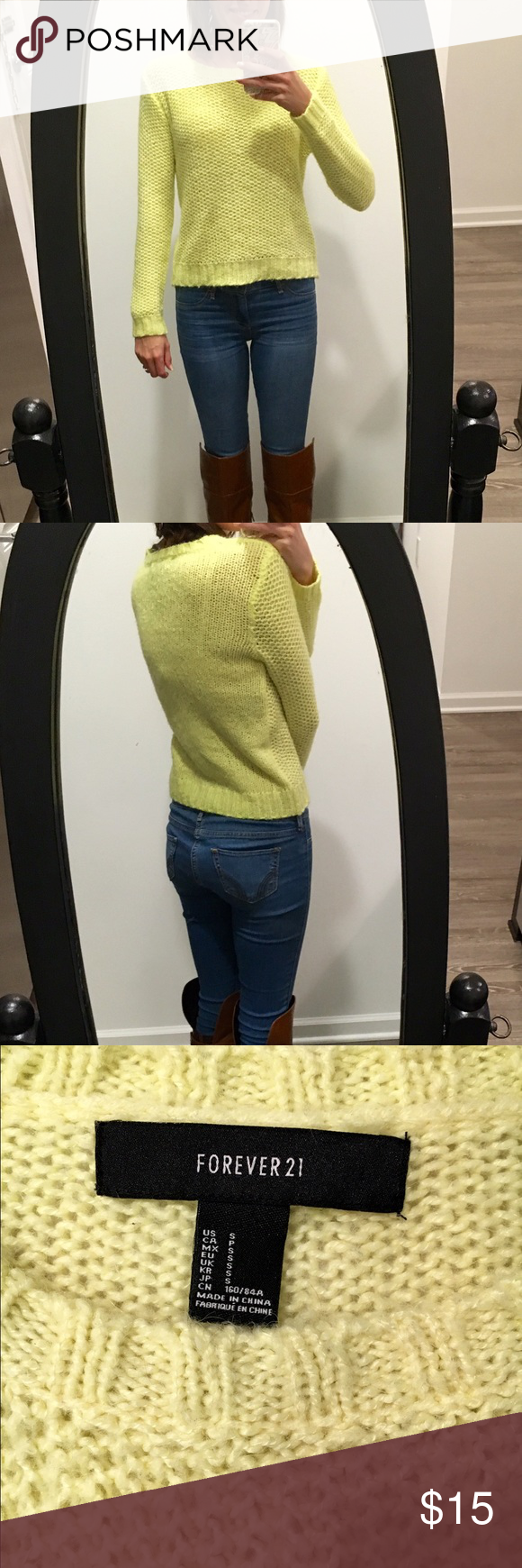 Forever 21 Knit Sweater Forever 21 Knit Sweater - size small - color yellow - great condition! Forever 21 Sweaters