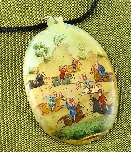Antique Persian Miniature Handpainted on Mother of Pearl from Iran