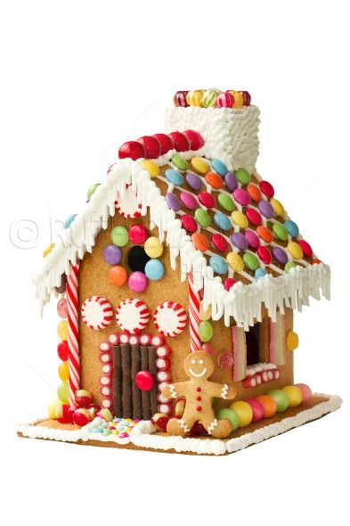 Christmas Gingerbread House Background.Colorful Gingerbread House On A White Background Royalty