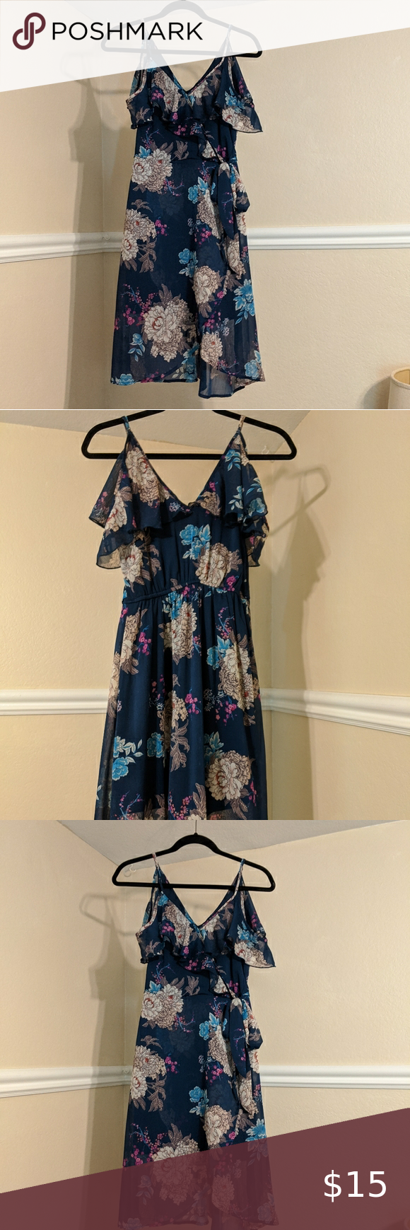 Blue Floral Target Dress Adjustable Spaghetti Straps With Off The Shoulder Mini Sleeves Navy Blue Dressn With In 2020 Blue Floral Print Dress Navy Blue Dresses Dresses [ 1740 x 580 Pixel ]