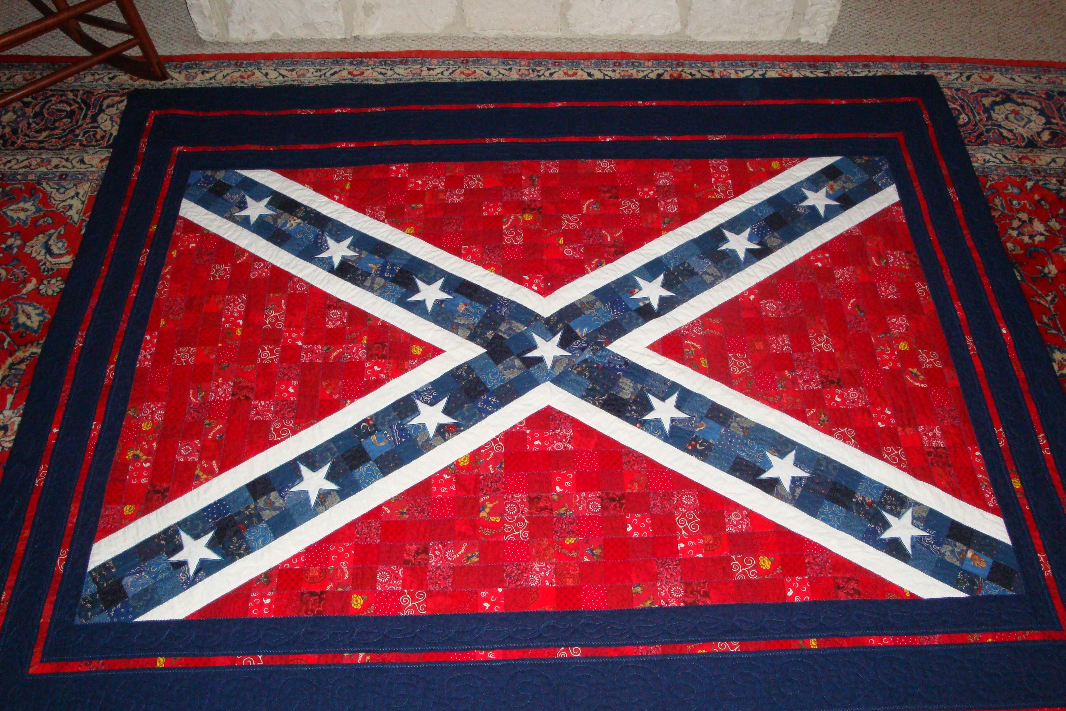 A Confederate Flag Quilt I Made For A Local Boy Who Moved