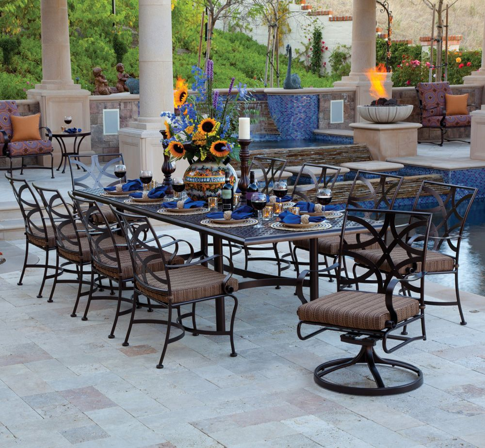 Large wrought iron patio dining set for 10 people    Big Outdoor     Large wrought iron patio dining set for 10 people