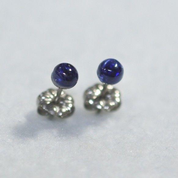 (1点もの)カイヤナイトのスタッドピアス(4mm・チタンポスト)