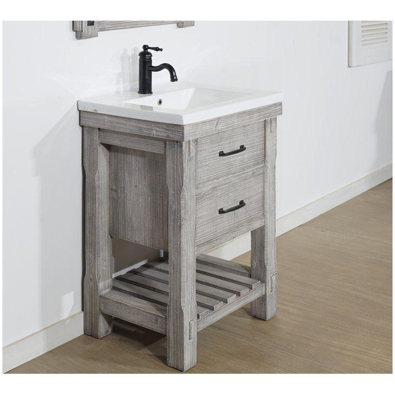 Gracie Oaks Zaire Rustic 24 Single Bathroom Vanity Set Reviews Wayfair Single Bathroom Vanity Vanity Bathroom Cabinets Designs