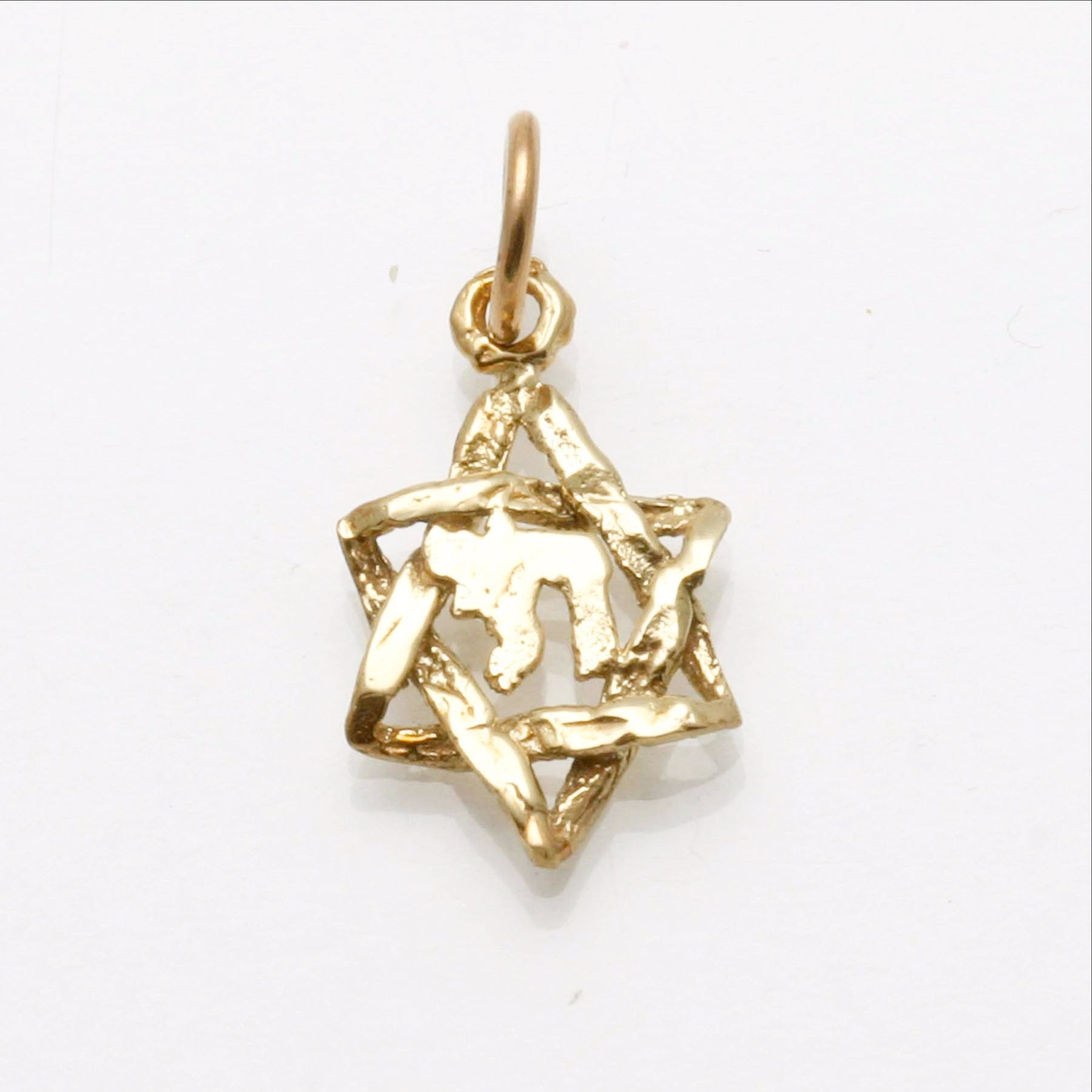 14k yellow gold star of david chai pendant small chai pendants 14k yellow gold star of david chai pendant small from jewelryjudaica mozeypictures Gallery