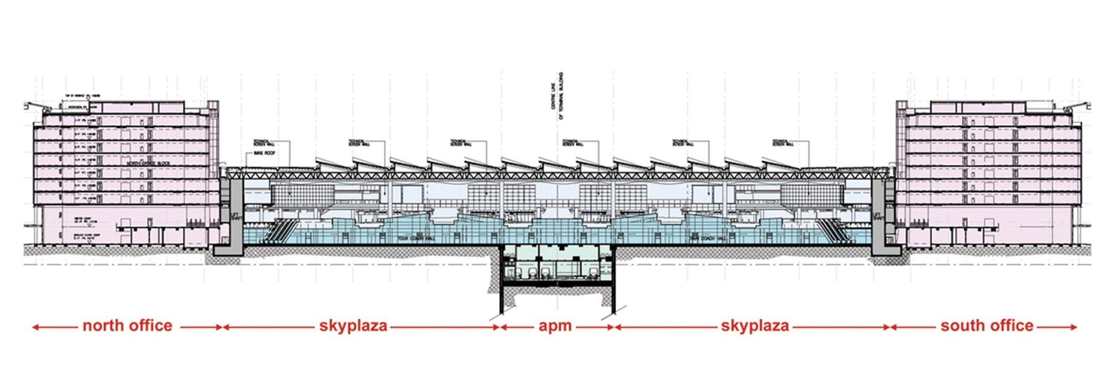 Terminal 2 at Hong Kong International Airport (Cross Section) (SOM ...