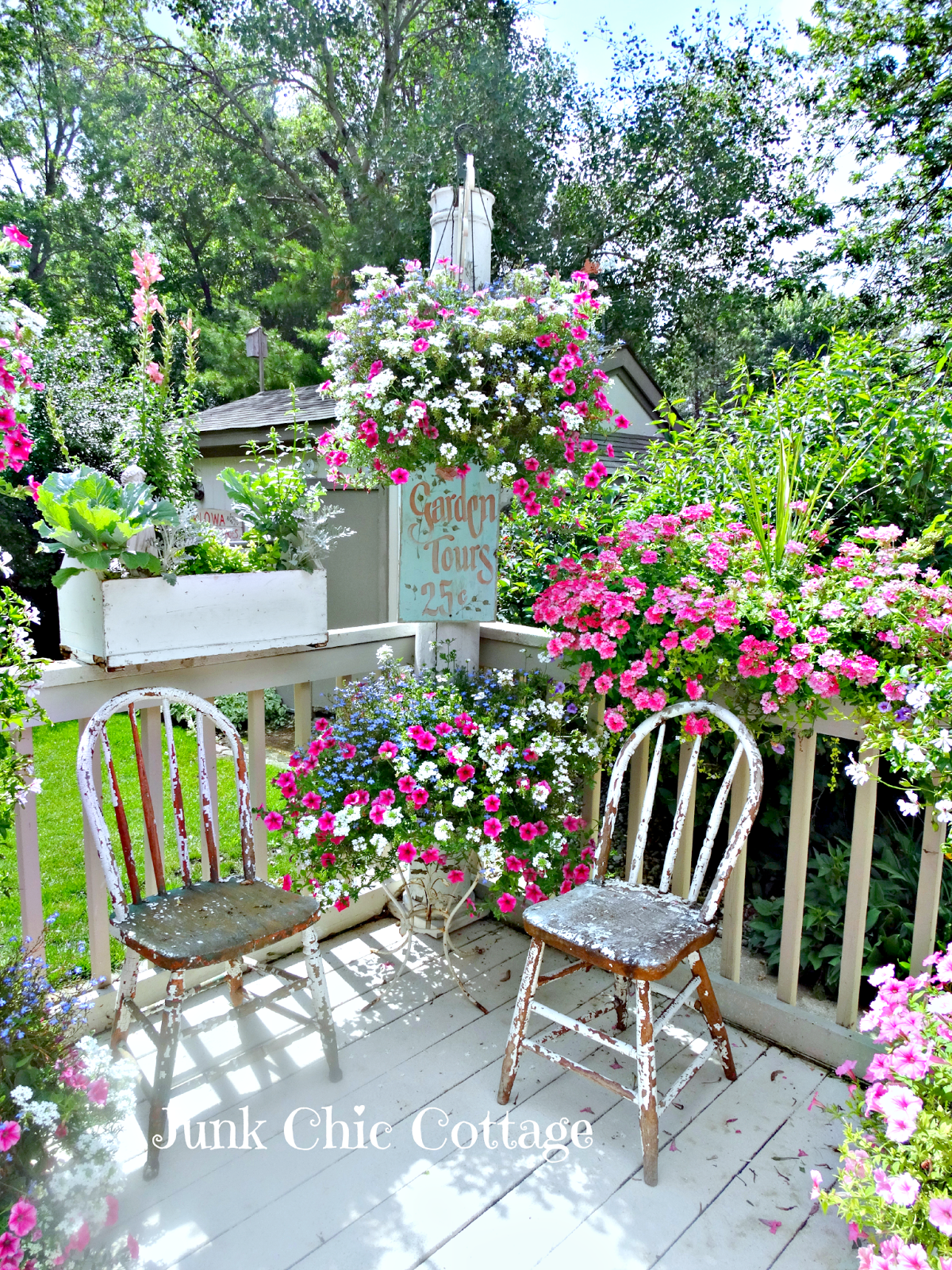 Pretty Flower Boxes ~&~ Hanging Pots using similar colored flowers ...