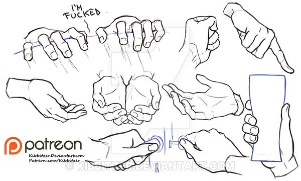 haha love the ones at the top :D  Hands reference sheet 7 by Kibbitzer on DeviantArt