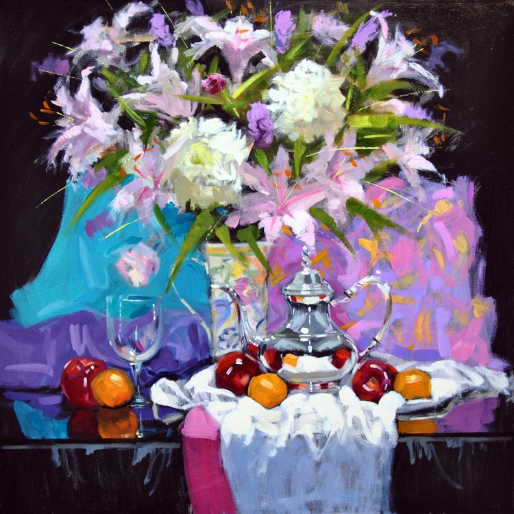 Jack Morrocco  (b.1953)  —  Lilies and Chrysanthemums  (750×750)