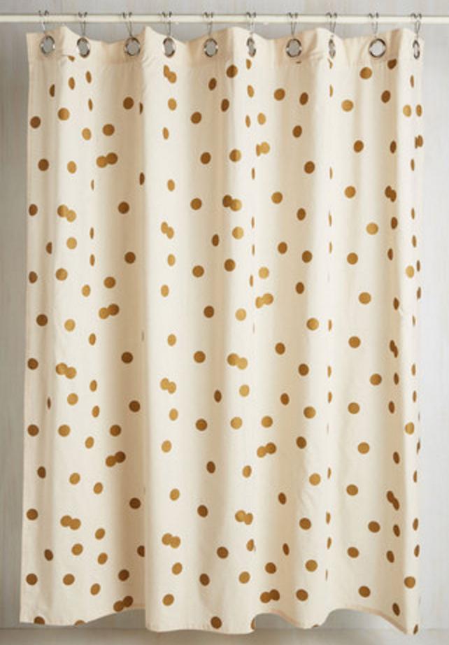 Gold Polka Dot Shower Curtain | Gold | Pinterest | Girl bathrooms ...