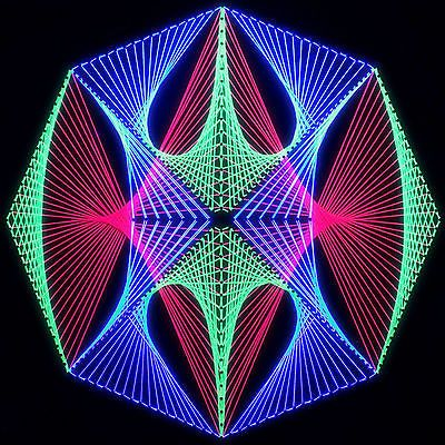 Stringart UV Deko   Goa Psy Trance Party   Schwarzlicht Fadenkunst    Achteck 6
