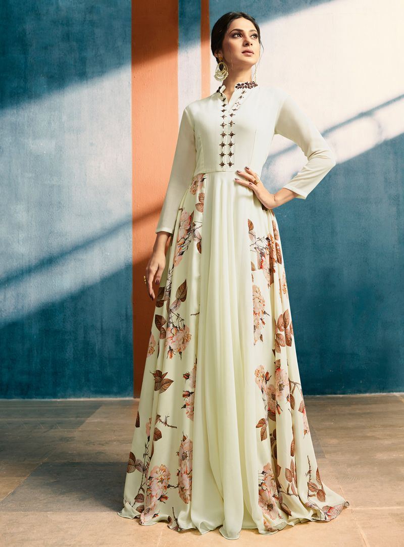 Jennifer Winget Off White Georgette Long Gown 133650 Designer Dresses Indian Gown Dress Online Indian Gowns Dresses