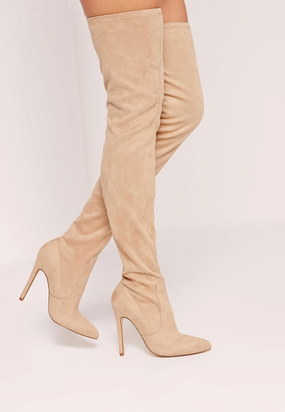 5f88b835599f Missguided - Nude Faux Suede Pointed Toe Over The Knee Heeled Boots ...