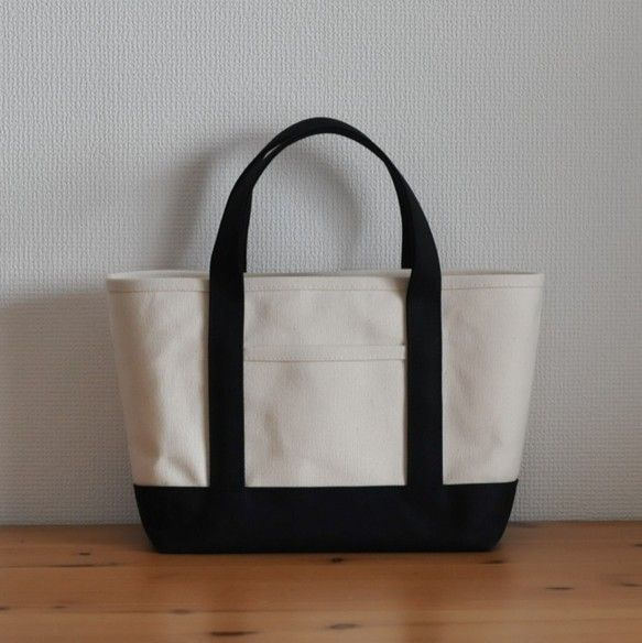 2fc20bfb1598 帆布のトートバッグ キナリ×ブラック ssサイズ | handmade | Bags ...