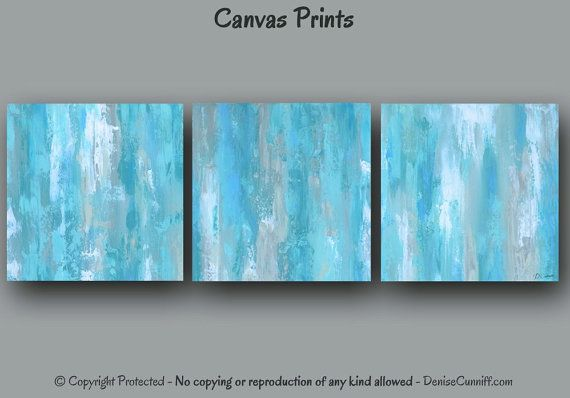 Aqua bedroom wall art, Teal blue gray & white, Abstract canvas art, Square 3 piece print set, Coastal beach decor, Shabby Chic is part of bedroom Blue Offices - policy ref shopinfo policies leftnav Because ArtFromDenise offers only custom made to order items, all sales are final  As mentioned above, color proofs are available  And an easy way to determine the right size is also provided above  But please contact me if you have any problems with your order  NOTE ArtFromDenise does not keep prints in stock  Each print is made AFTER you place an order  This ensures you receive a brand new item, eliminates inventory costs, and ultimately allows this small art business to remain sustainable  Of course quality is always guaranteed, and if an item is damaged during shipment a replacement will be sent  Please submit photos showing proof of damage within 48 hours of delivery  Rest assured, ArtFromDenise only offers high quality products  NOTE LISTINGS DO NOT INCLUDE SHIPPING COSTS TO ALASKA, HAWAII, OR OUTLYING AREAS OF THE U S   If you live outside the 48 Contiguous US States, please contact me prior to purchasing  Please provide your shipping address plus the print size you need and I will be glad to get the shipping rates for you  If you purchase without contacting me first, I may have no choice but to cancel the order (due to the high shipping rates for any large package that doesn't travel via the post office)  Also, please be aware that this shop no longer accepts PayPal payments for international orders, and all international sales are final   ► COPYRIGHT NOTICE This image has been filed and is protected under copyright laws and may not be reproduced or copied in any way  By purchasing this listing, you will own this one piece of art, but not the rights to reproduce it  By law, Denise Cunniff retains all rights to reproduction of this artwork  Any attempt to copy, reproduce or create derivative works from any of Denise Cunniff's works of art displayed online will be l