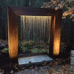 Rain Curtain Water Feature | Heron Construction. This Gorgeous Custom  Cascade White Rain Curtain . Outdoor FountainsGarden FountainsBackyard ...