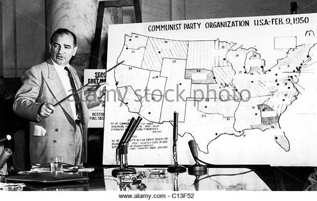 Sen. Joseph McCarthy at McCarthy hearings, 1954 - Stock Image
