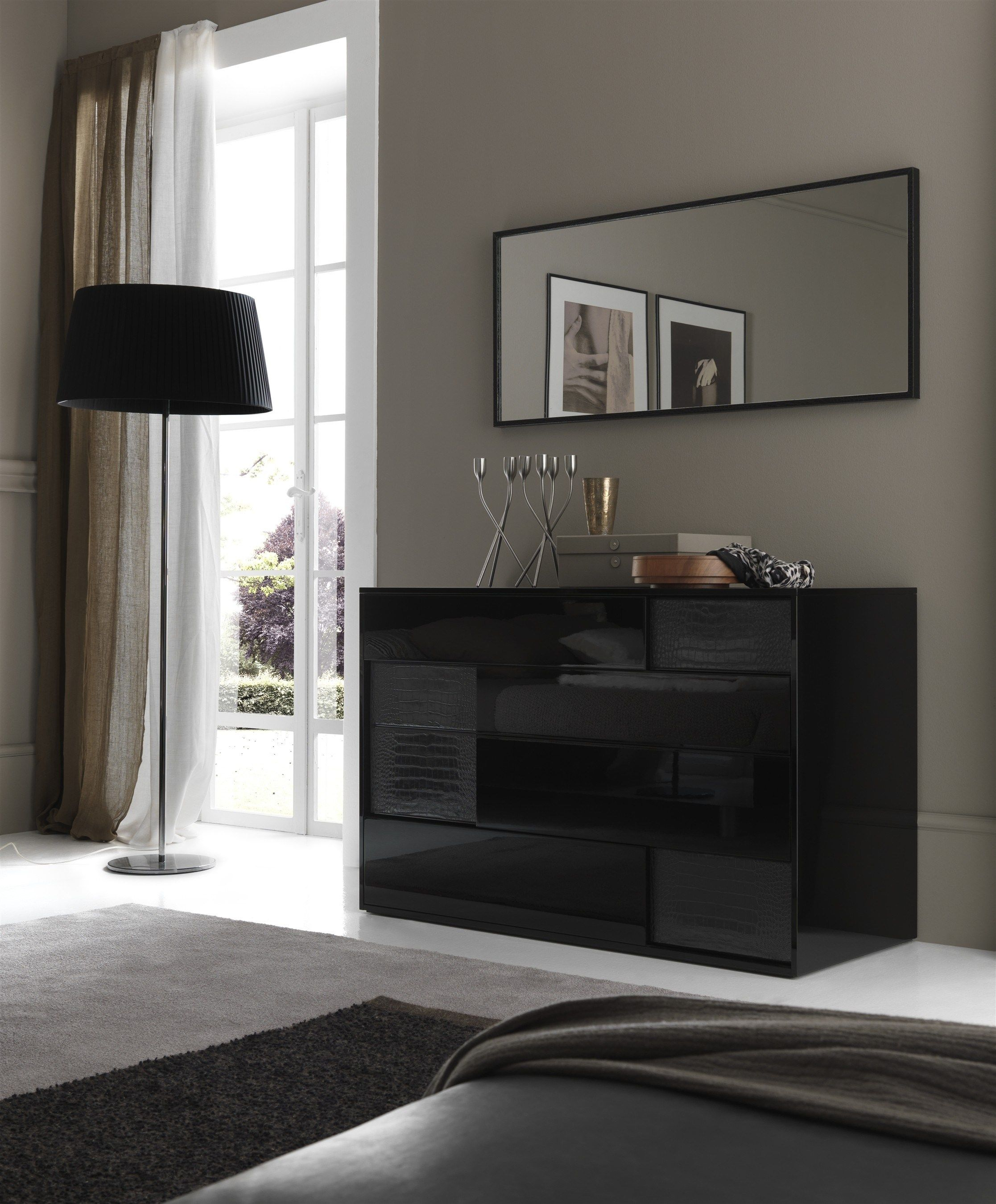 Modern High Gloss Black Bedroom Furniture Living Room