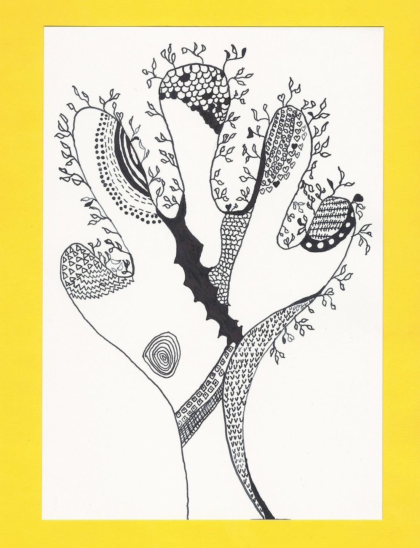 arbre l 39 encre de chine dessin graphique arbre stylis noir et blanc tableau nature arbre. Black Bedroom Furniture Sets. Home Design Ideas