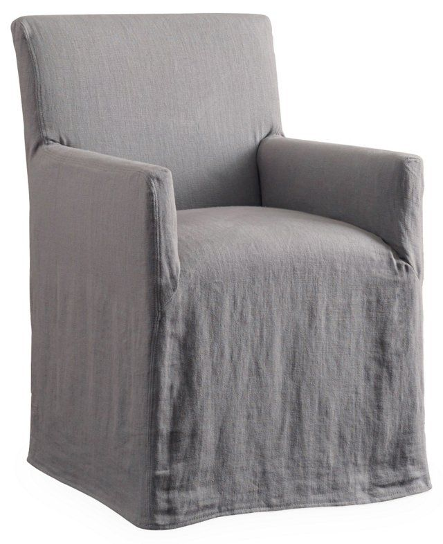 This Armchair Is Crafted With A Sy Birch Frame And Lovely Linen Slipcover In Versatile Pewter Hue