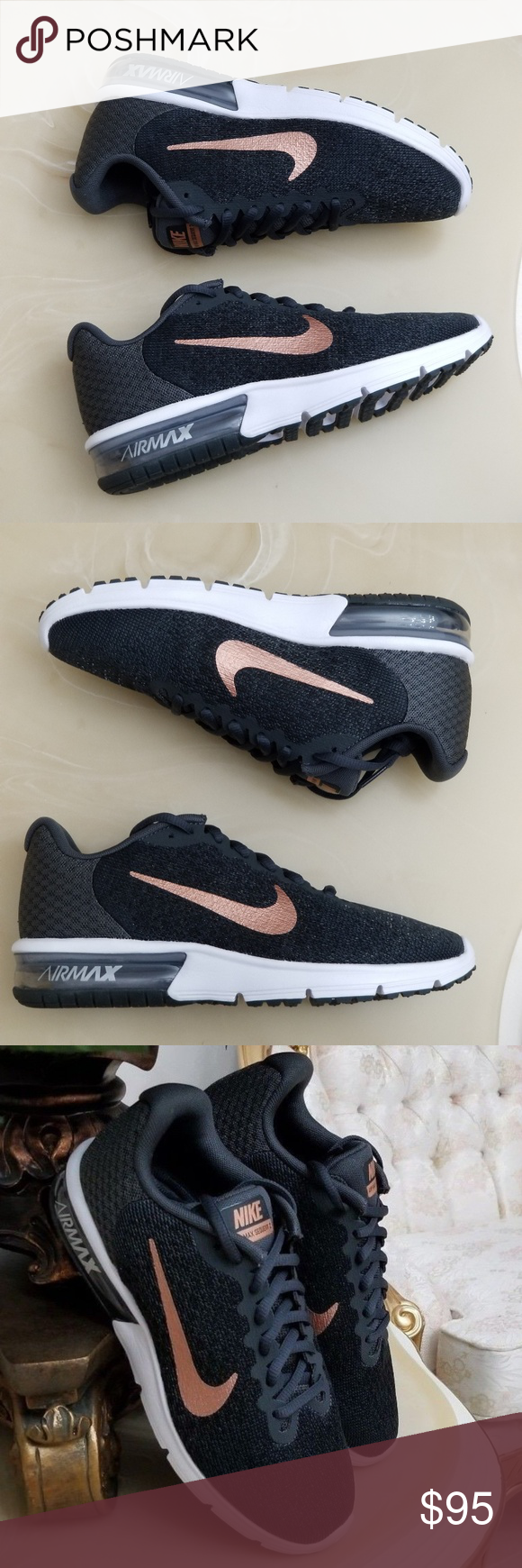 Women s Nike Air Max Sequent 2 Running Shoes Women s Size 7 Style 852465-013  Anthracite  Metallic Red  Bronze Nike Shoes Athletic Shoes 0495b13fb49f