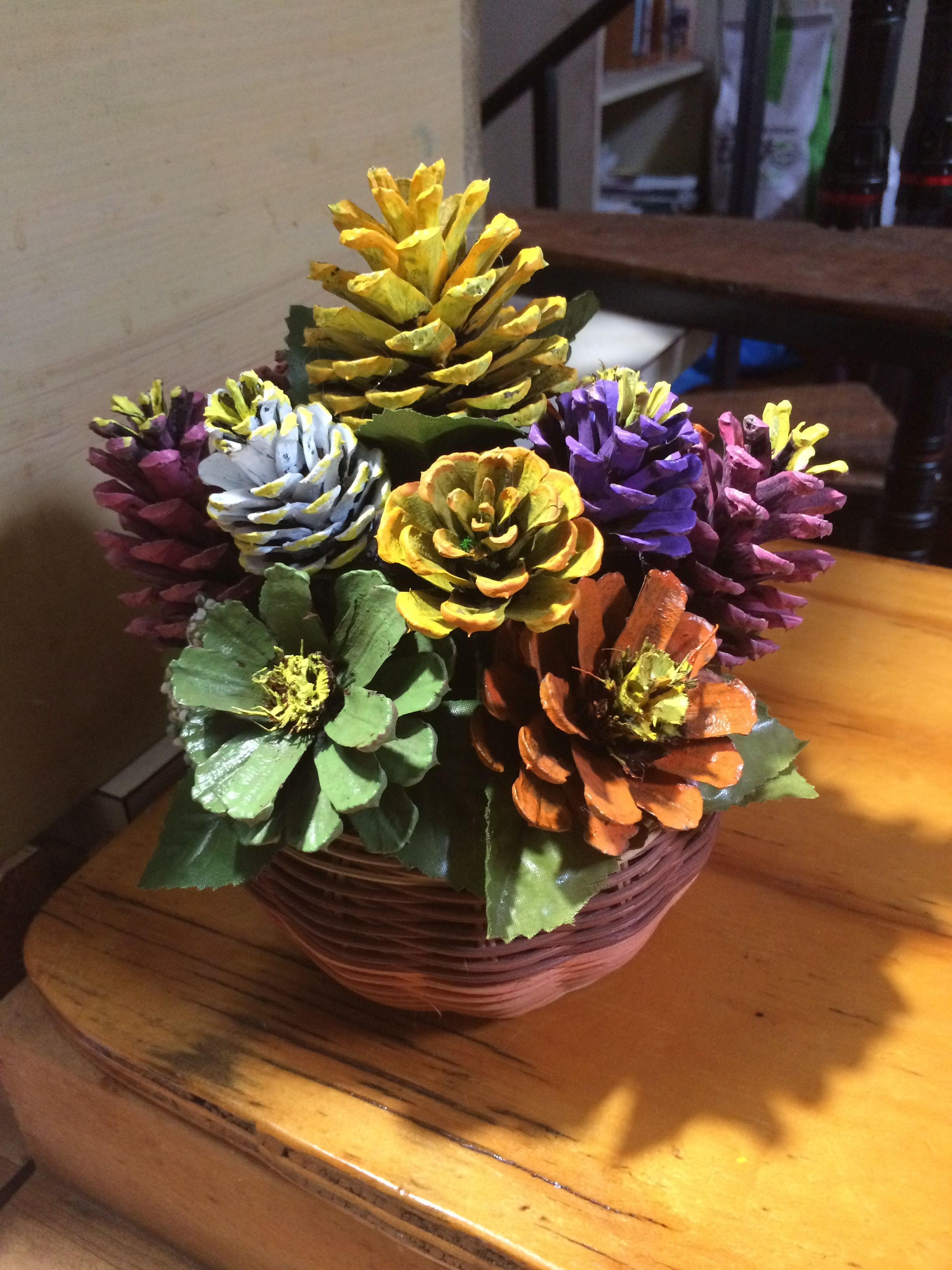 Painted Pinecone Flowers In Basket By Cat Painted Pinecones Pine Cone Decorations Pine Cone Crafts