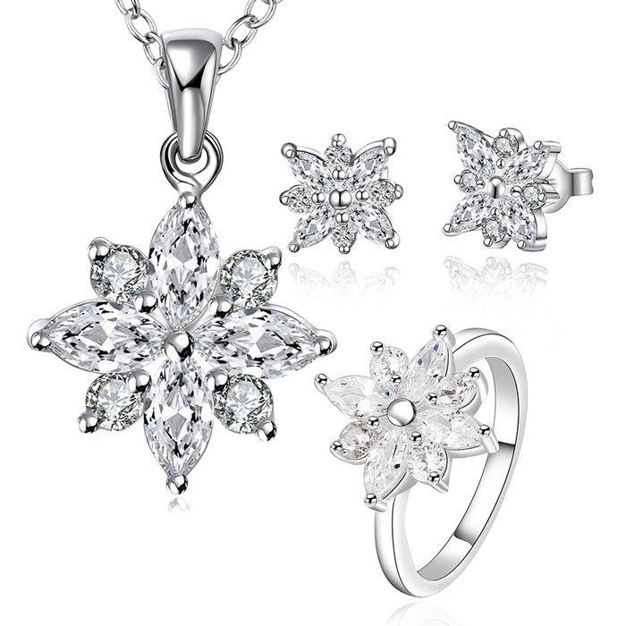 Silber überzogene schmucksachen, 925 mode Silber schmuck Kristall schneeflocke halskette & ohrringe & ring schmuck sets für frauen SS747