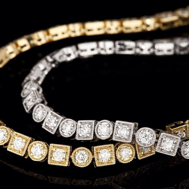 18ct gold and diamonds Art Deco style tennis bracelet which one